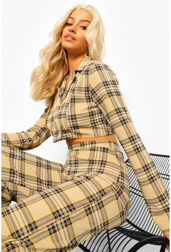 Check Crop Blazer & Trouser Suit Set