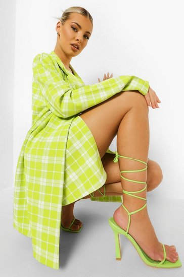 Lime green Checked Oversized Blazer