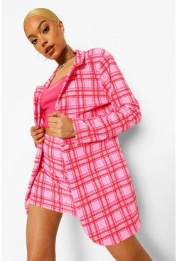 Checked Blazer & Mini Skirt Suit Set