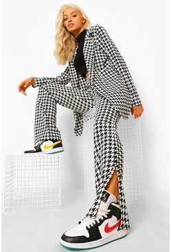 Black Dogtooth Check Split Front Trousers