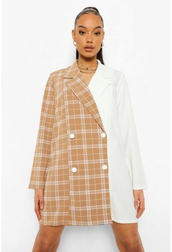 Ivory white Check Spliced Oversized Blazer Dress