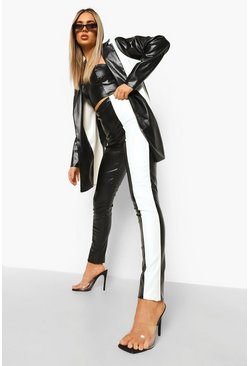 Black Faux Leather Contrast Panel Skinny Pants