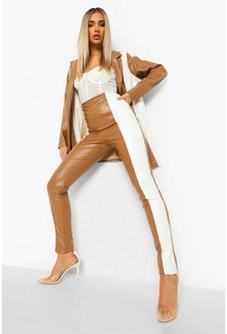 Caramel beige Leather Look Contrast Panel Skinny Trouser