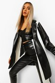 Black Leather Look Contrast Panel Longline Blazer