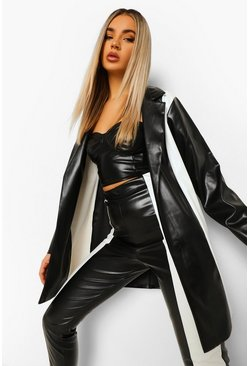 Leather Look Blazer & Trouser Suit Set