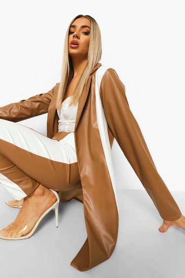 Caramel beige Leather Look Contrast Panel Longline Blazer
