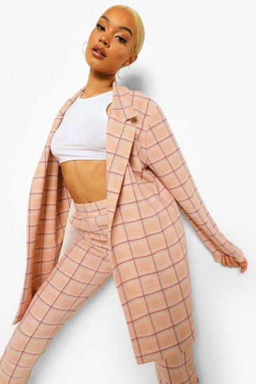 Sand beige Mini Dogtooth Check Oversized Blazer