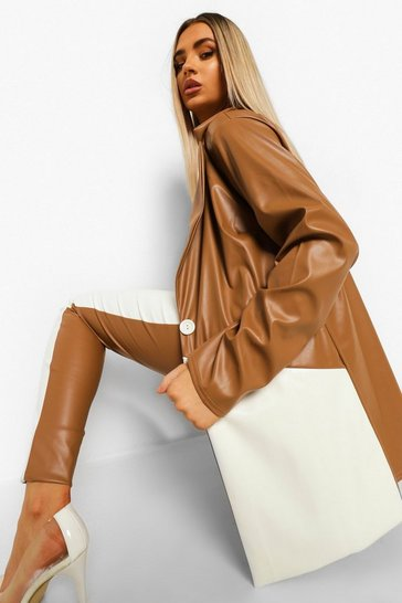 Caramel beige Leather Look Colour Block Blazer