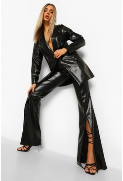 Black Leather Look Split Front Wide Leg Trousers