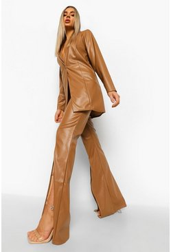 Caramel beige Leather Look Split Front Wide Leg Trousers