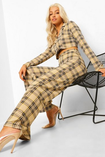 Black Mono Check Wide Leg Trousers