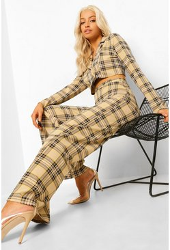 Black Mono Check Wide Leg Pants