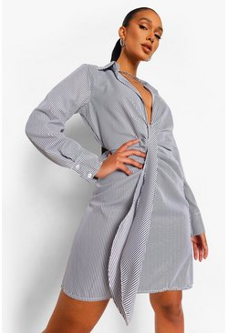 Black Stripe Knot Front Shirt Dress