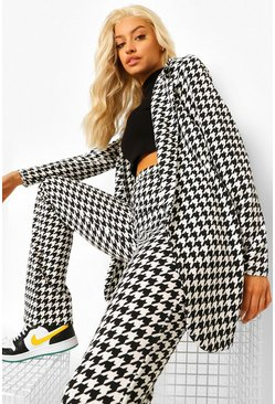 Black Dogtooth Check Fitted Blazer