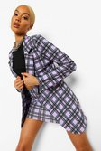Lilac purple Checked Oversized Blazer