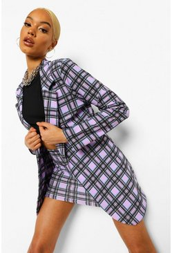 Check Oversized Blazer And Skirt Suit Set