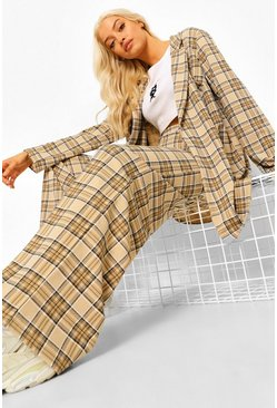 Sand beige Tonal Check Wide Leg Trousers