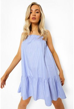 Blue Striped Strappy Dropped Waist Mini Dress