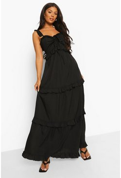 Black Ruffle Detail Strappy Maxi Dress