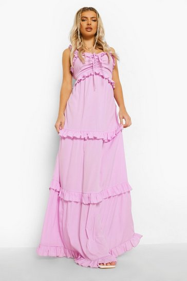 Lilac purple Ruffle Detail Strappy Maxi Dress
