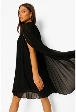Black Pleated Cape Swing Dress
