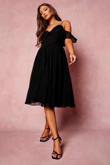 Black Cold Shoulder Ruffle Midi Bridesmaid Dress
