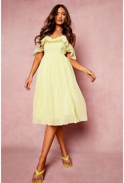Lemon yellow Cold Shoulder Ruffle Midi Bridesmaid Dress