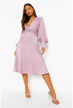 Lilac purple Satin Twist Front Midi Bridesmaid Dress