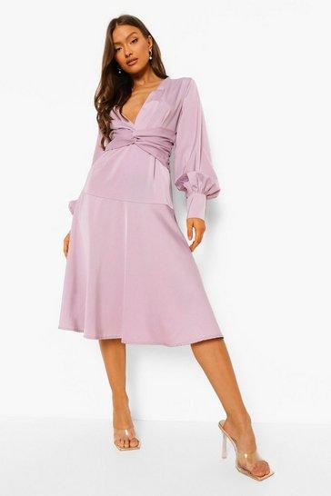 Lilac purple Satin Twist Front Midi Bridesmaid Dress