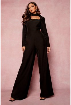 Black High Neck Cut Out Wide Leg Jumpsuit
