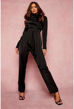 Black Drape Detail Wide Leg Jumpsuit
