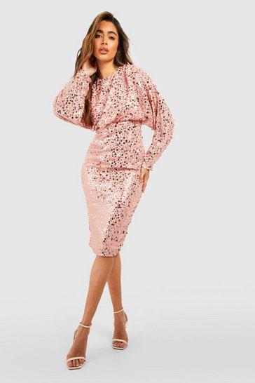 Blush pink Sequin Batwing Midi Dress