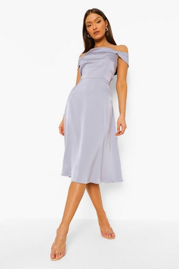 Dusty blue blue Satin Off The Shoulder Drape Midi Dress