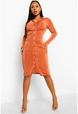 Rust orange Textured Slinky Gathered Midi Shirt Dress