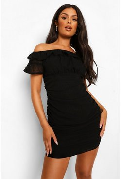 Black Off The Shoulder Dobby Mesh Ruched Mini Dress