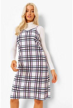 Pink Check Midi Slip Dress With Roll Nck L/s Top
