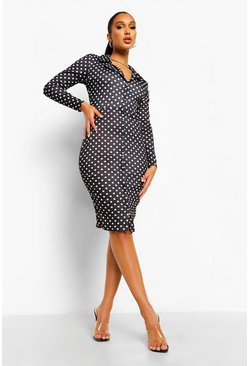 Black Polka Dot Midi Shirt Dress