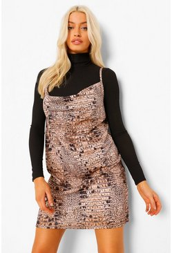 Brown Snake Print Slip Dress With Roll Neck Top