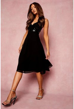 Black Strappy Sequin Midi Skater Dress