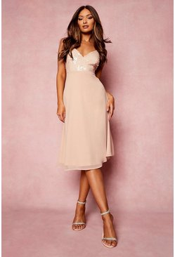 Nude Strappy Sequin Midi Skater Dress