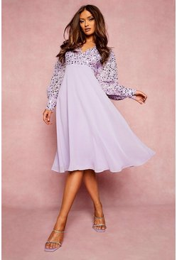 Lilac purple Sequin Wrap Midi Skater Dress