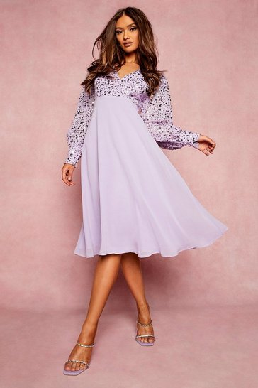 Lilac purple Sequin Wrap Midi Skater Dress
