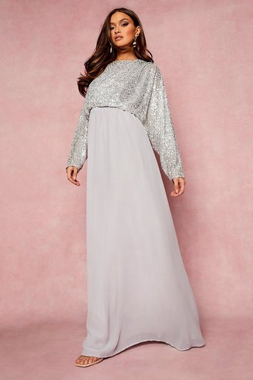 Silver Sequin Batwing Maxi Bridesmaid Dress