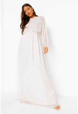 White Sequin Batwing Maxi Bridesmaid Dress