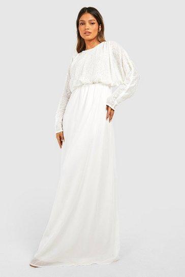 White Sequin Batwing Maxi Bridesmaid Dress