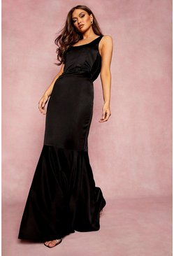 Black Corset Detail Fishtail Maxi Dress