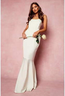 White Corset Detail Fishtail Maxi Dress