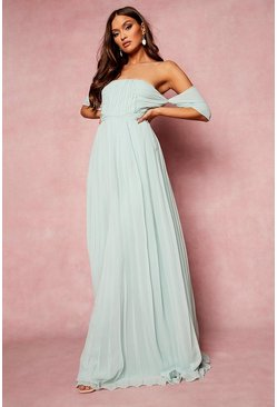 Mint green Pleated Bardot Bridesmaid Maxi Dress