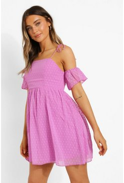Lilac purple Strappy Cold Shoulder Dobby Mesh Skater Dress