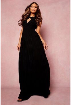 Black Pleated Cut Out Maxi Bridesmaids Dress